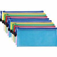 10Stk Reißverschluss Datei Beutel Raster Dokumenten Tasche Mehrzweck Aufbew R9N3