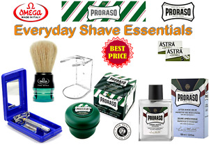 EVERYDAY SHAVE ESSENTIALS -Consists:  Razor - Brush - Shave Soap - Balm & Blades