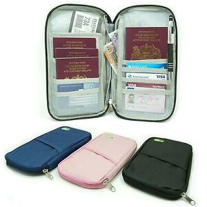 Travel Organiser Passport Document Tickets Holder Wallet Bag Purse Zipper Case