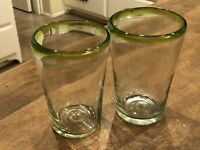 Set of 2 - Hand Blown Mexican Art Glass Brown Green Highball Tumblers