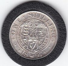 Very  Sharp  1897   Queen   Victoria   Sterling   Silver  Shilling  British Coin