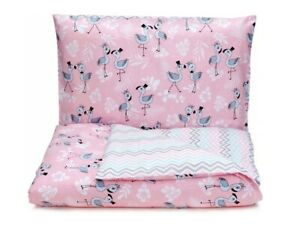 Baby Bedding Set For Crib Pink Two-Sided 135x100 Duvet Cover Pillowcase Cotton
