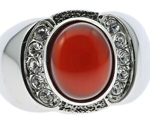 Red Agate Ruby Simulated Stone Cz Stainless Steel Men's Ring Size 13 T23