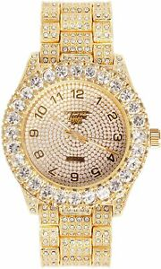 Iced Watch Bling Rapper Simulate Solitaire Diamond Stone Band Gold Hip Luxury