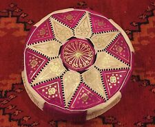 Moroccan Handmade Genuine Leather Pouf Bright Violet Hassack Ottoman Foot stool