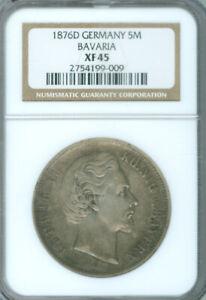 1876 D Germany-Bavaria 5 Marks NGC XF 45 FREE S/H (2025903)