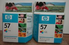 Pair of Genuine HP 57 (C6657AN) Tri-Color Ink Cartridges - NEW! Exp. 2007