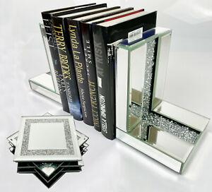 Mirrored Glass Crush Diamante Bookends Book Ends & 6 Glitter Mirror Coasters NEW