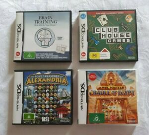 NINTENDO DS GAMES, brain training, club house games, jewel master, alexandria