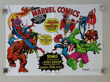 1975 Mead Marvel poster:Spiderman/Avengers/Hulk/Iron Man/Thor/Fantastic Four/Cap