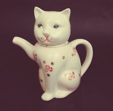 Vtg Ceramic Cat Tea Pot Red Flowers Chinese 2-Piece Unique Eyes Lashes