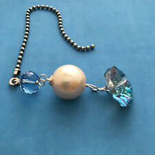 Handmade Wire Wrapped Fan Light Pull Blue Beaded Faux Pearl Silver Tone Metal