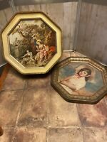 Vintage Sunshine Biscuits Tin Lids The Nest Francoise Boucher, Girl in Shade hat