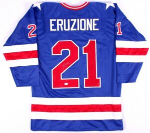 """Mike Eruzione Signed Team USA """"Miracle on Ice"""" Jersey (JSA COA) Team Captain"""