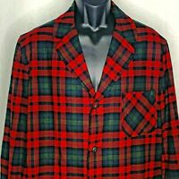 Vintage 70s Pendleton Wool Smoking Jacket L Red Green Plaid Pockets Buttons Up