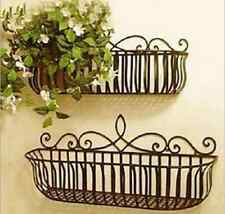 Garden Balcony Wrought Iron Wall Mount Flower Pot Plant Holder Stand Window Box