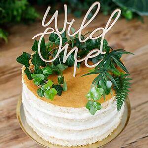 Wooden Wild One Cake Topper | 1st Birthday Girls Boys Cake Smash Food Decoration