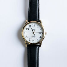 Timex Gold Coloured Easy Reader 35mm Black Leather Back light Watch T2H291D7PF
