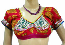 Indian Vintage Bra Choli  Blouse Tunic Top Antique Mirror Embroidered  work