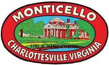 Monticello Virginia  Thomas Jefferson    Vintage style Travel Decal sticker
