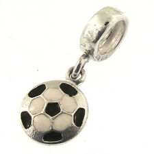 Individuality Beads Soccer Ball Dangle Charm Sterling Enamel Black White IBB 925
