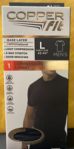 """Copper Fit Compression Copper Infused T-Shirt Black  Mens Lg (42""""to 44"""") NEW"""