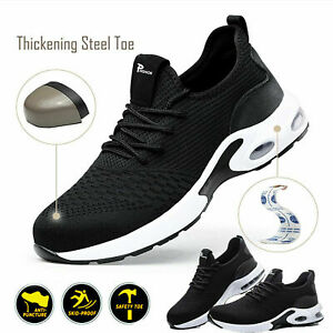 Mens UK Lightweight Safety Trainers Steel Toe Cap Work Shoes Women Hiking Black