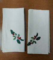Longaberger Fabric NAPKINS Christmas Set of 2 NATURE'S GARLAND Embroidered