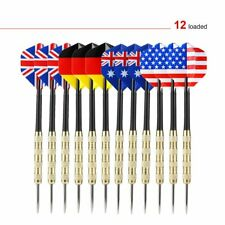 OUTAD 12 pcs Stainless Steel Throw Tip Darts with National Flag Flights US STOCK
