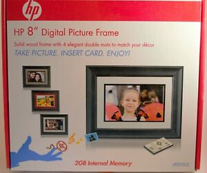"""HP 8"""" Digital Picture Frame with Remote, 2Gb SD card, Power cable & Manuals"""