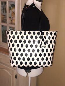 Kate Spade Harding Street Ikat Dot Riley Tote, Black & White Large Shoulder Bag