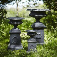 48cm Black Cast Iron Classic Shallow Urn Planter on Plinth/Flower Pot/Feature