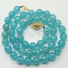 """Jade Gems Beaded Necklace 17-18""""Aaa New Fashion 8Mm Sky Blue Faceted"""