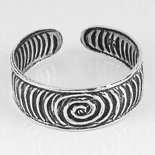 Adjustable Toe Ring (str35) .925 Sterling Oxidized Silver Spiral