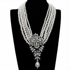 Moda Perla Blanca Cadena Cristal Grueso Gargantilla Collar Colgante Babero
