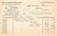 Facture - Fabrique spéciale d'articles gravés A. UNY à GERGY 1917