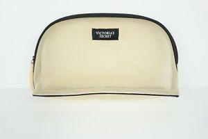 Victoria's Secret Beige Mesh Black Tag Cosmetics / Makeup Zipper Bag