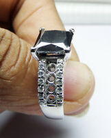 4.11 ct black Moissanite & accent Ring 925 sterling silver Engagement ring NR04