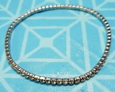 Elastic To Fit For Size Rhinestone Silver Plated Anklet With