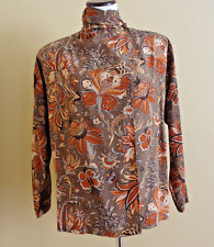 Lady's VTG Silk Made in Italy Long Sleeve Paisley Pattern Brown Blouse size 6