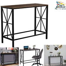 Industrial Writing Desk Vintage Computer Table Rustic Metal Solid Wood Office UK