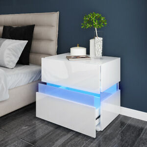 High Gloss 2 Drawers Bedside Table Cabinet Side End Table Nightstand RGB LED