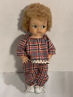 Vintage 1967 EEGEE Doll Plaid Outfit Curly Hair