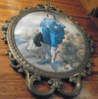 """Vtg 'Blue Boy' Picture Ornate Victorian Metal Frame Convex Glass 17"""" Italy    74"""