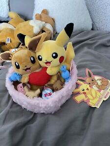 Pikachu And Eevee Pokemon Easter Plush Winter Edition - Japanese New With Tags