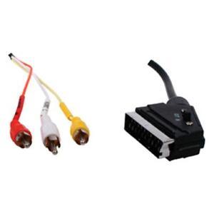 Scart Plug to 3x RCA Phono Male Plugs Lead 1.5m