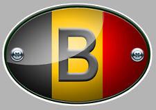 OVALE DRAPEAU BELGE BELGIQUE 12cm AUTOCOLLANT STICKER AUTO MOTO (OA018)
