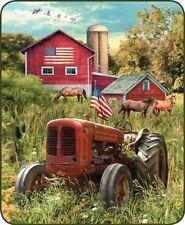 "NEW PATRIOTIC FARM TRACTOR QUEEN SIZE 79"" X 96"" SOFT MEDIUM WEIGHT BED BLANKET"