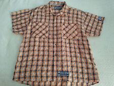 Men's Heaven Or Hell Button Front Short Sleeve Shirt Orange Plaid Size XL Sharp!