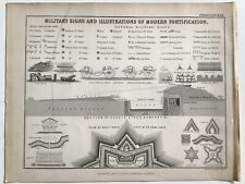 Military Signs & Modern Fortifications, Original 1850 Antique Print, AK Johnston